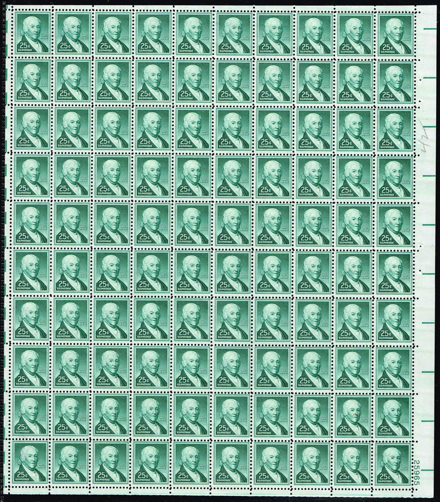 1958 Paul Revere Complete Sheet of 100 - 25 Cent Stamps Scott 1048