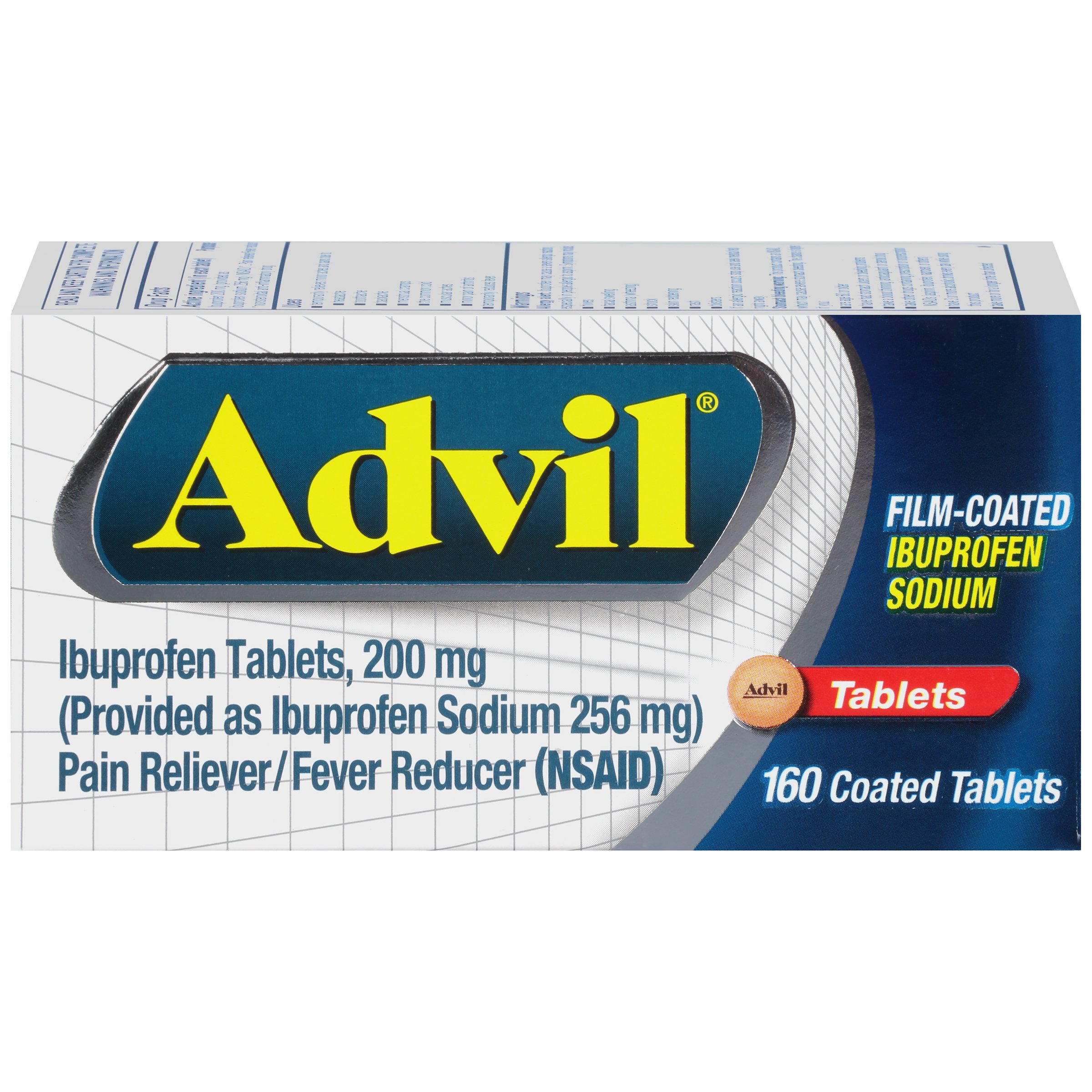 Advil Film-Coated Temporary Pain Reliever/Fever Reducer Tablet, 200mg Ibuprofen, 160 Count by Advil