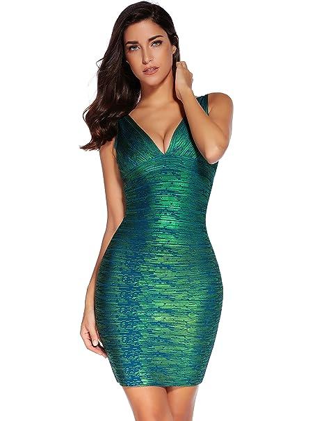 b875c66d4c95 Meilun Women's Rayon Sexy V-Neck Bandage Bodycon Strap Green Foil Dress  X-Small