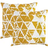 TreeWool, (Pack of 2) Ikat Triangle Geometric Accent Throw Pillow Covers in Cotton Canvas (18 x 18 Inches; Mustard & White)