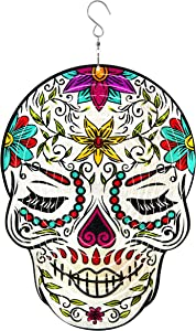 East World Female Sugar Skull Wind Spinner 12in, Stainless Steel Kinetic 3D Metal Garden Décor, Multicolour Home Decoration Hangings, and Ornaments