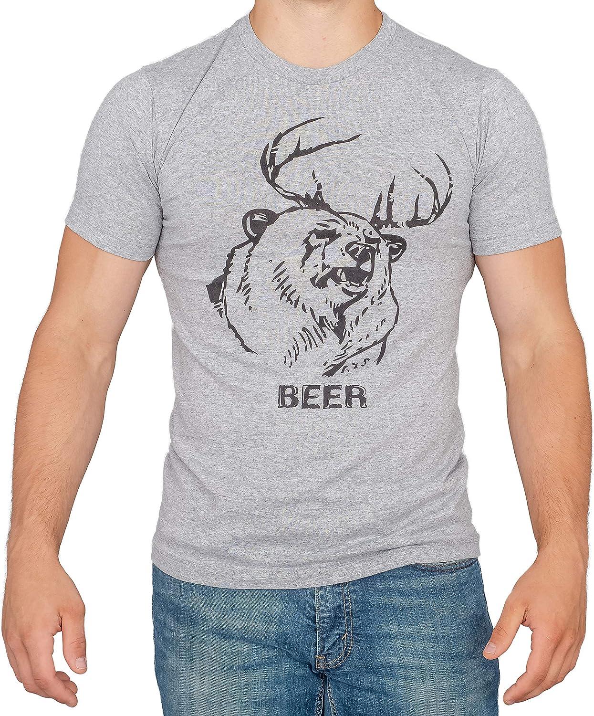 Beer Bear+Deer Mac Heather Gray Adult T-Shirt