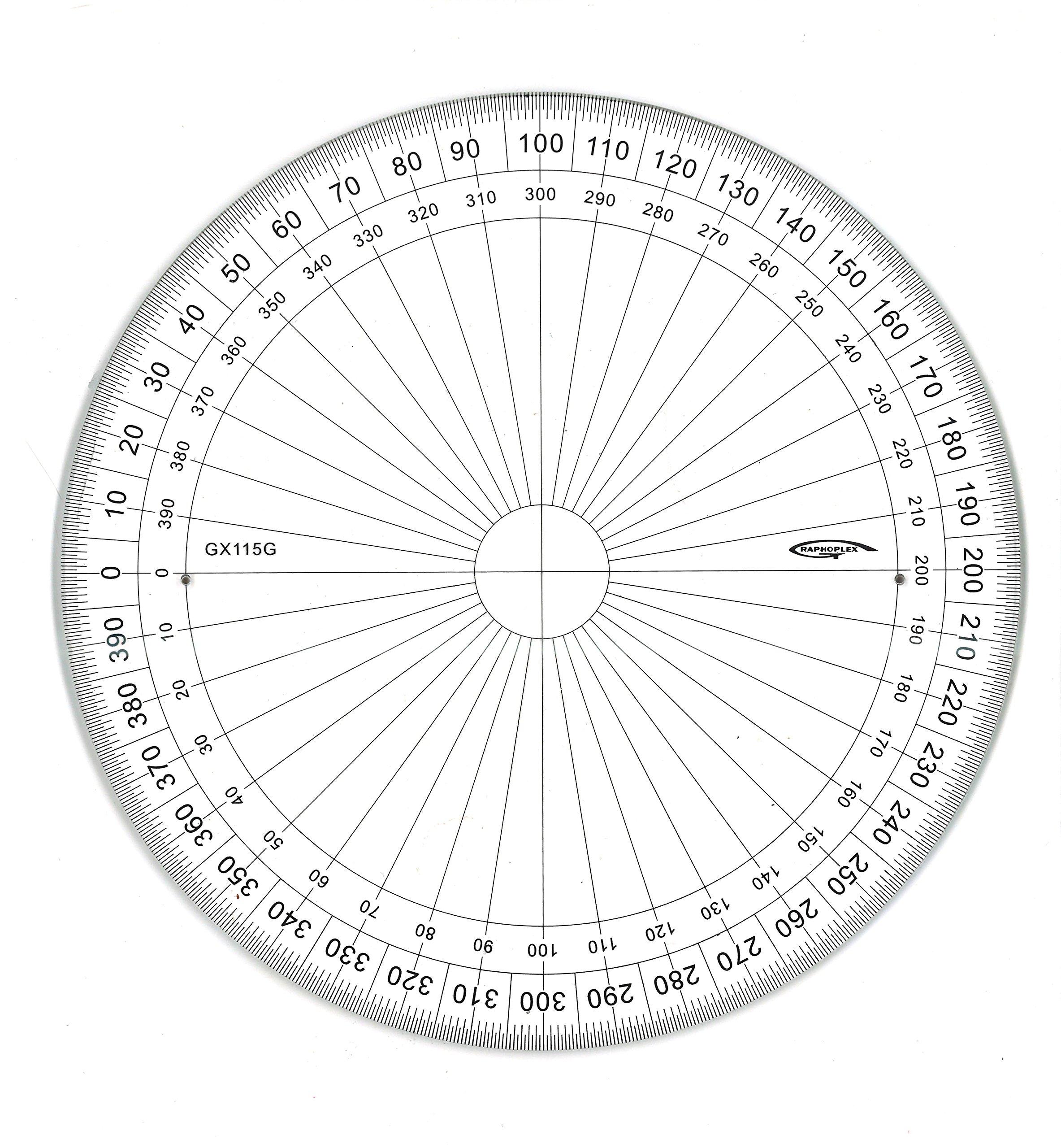 Graphoplex GX115G Full Circle Transparent Protractor