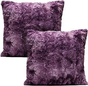 Chanasya Super Soft Fuzzy Faux Fur Cozy Warm Fluffy Dark Purple Fur Throw Pillow Cover Pillow Sham - Aubergine Pillow Sham 18x18 Inches(Pillow Insert Not Included) Waivy Fur Pattern 2-Pack
