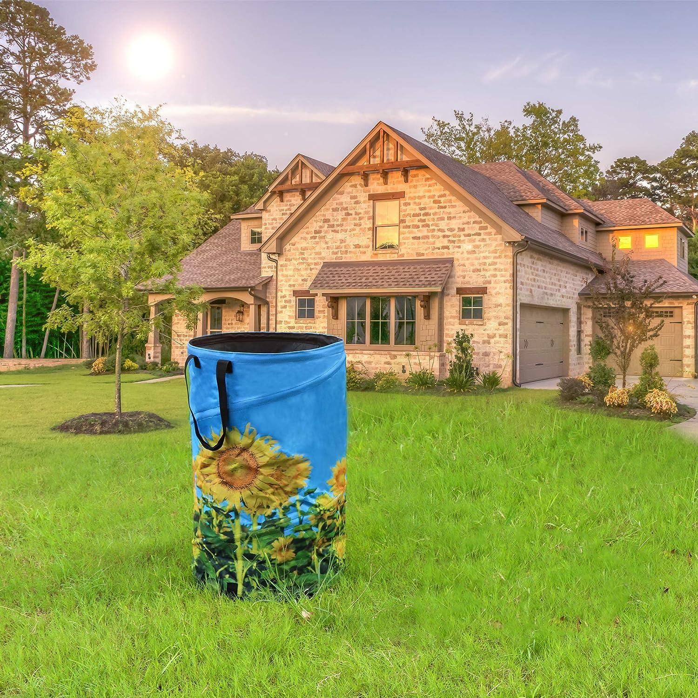 FLORA GUARD 120L Gartensack Sonnenblume-Druck Leinwand tragbare Gartenabfallsack WiederVerwendbarer Falt Gartenabfalls/äcke