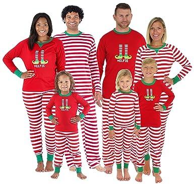 sleepyheads christmas family matching red striped elf pajama pj sets kids shm 5013