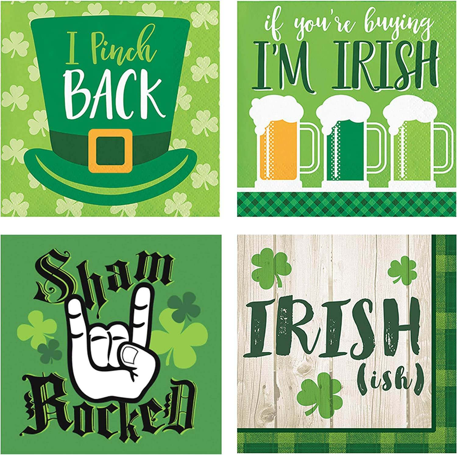 St. Patrick's Day Paper Disposable Cocktail Beverage Napkins - Assorted Variety - Funny Joke Bulk Party Supply - 64 Pack