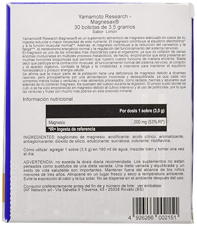 Yamamoto Research Magnesax Magnesium en Sobres - 30 Unidades: Amazon ...