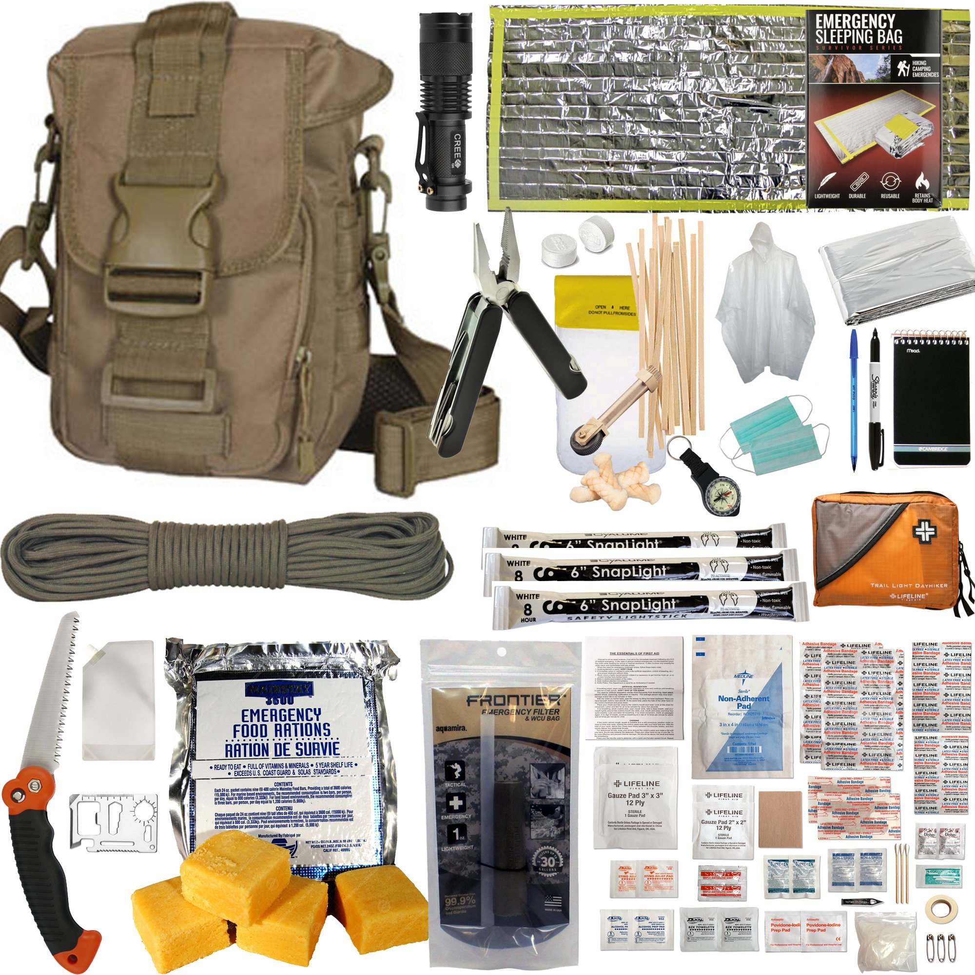PREPPER'S FAVORITE: Emergency Get Home Bag with First Aid Kit, Water Filter, Food, Fire, Tools and Shelter. Ideal Compact Bug Out Bag, Earthquake Kit, EDC or 72 Hr Kit. Tactical Shoulder Bag Model by Prepper's Favorite (Image #1)