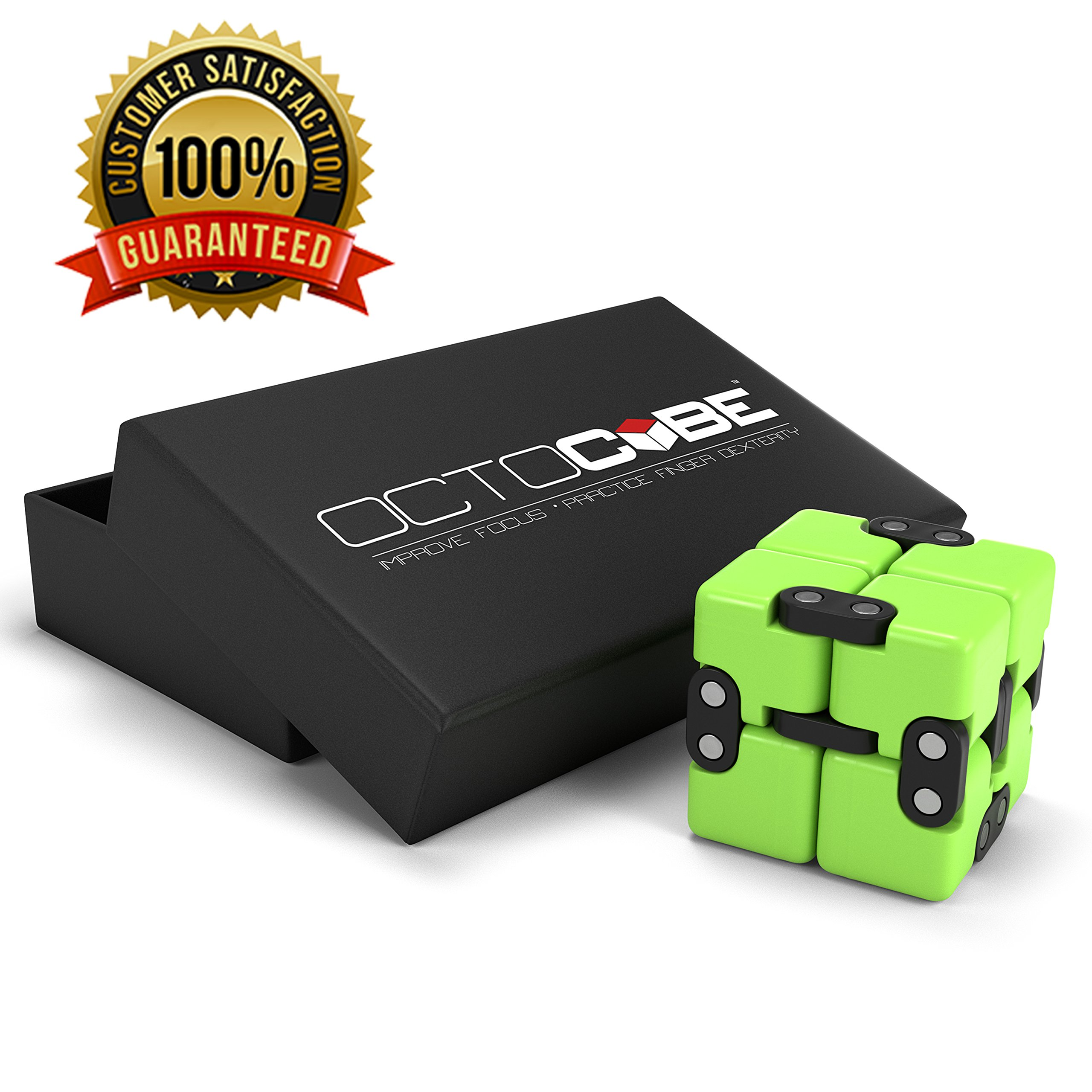 OCTOCUBE Infinity Cube Fidget Toy w/Gift Box - Luxury Infinite Cool Gadget for Kids, Adults - Prime Sensory Stress Relief, Pressure Reduction Unique Distraction for Autism, Quit Smoking - Green