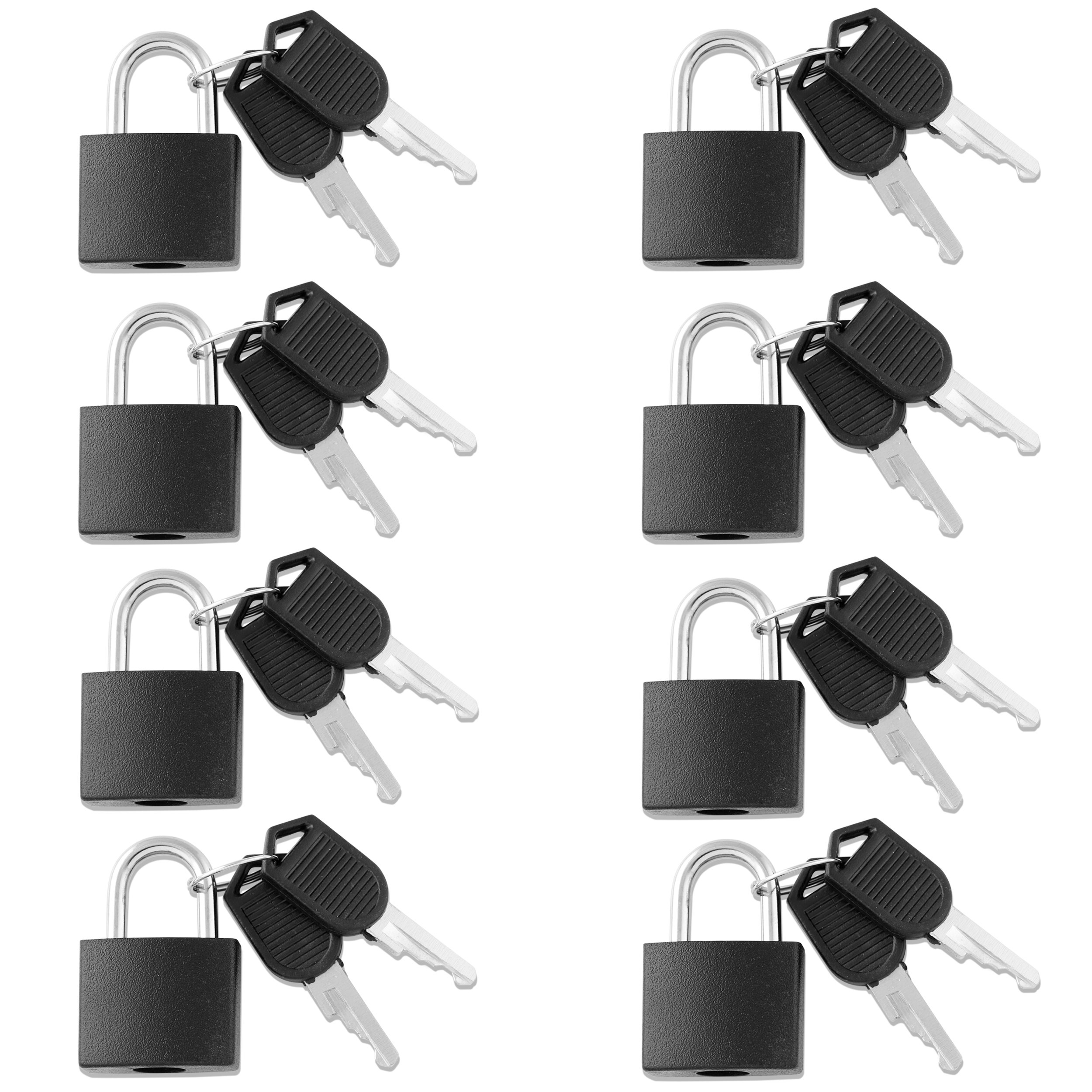 VIP Home Essentials - (PROMOTIONAL SALE) -Small Mini Durable ABS Covered Solid Brass Body Individually Keyed Padlock - 8 Pack Lock Set