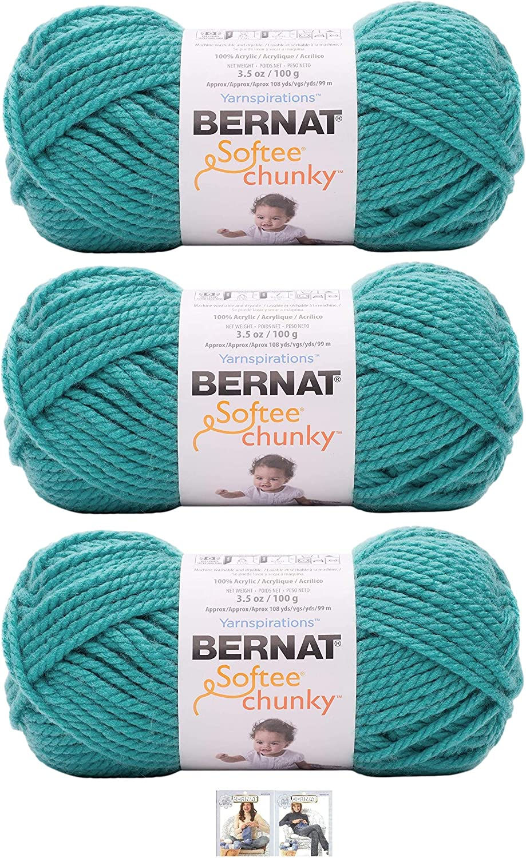 Bernat Softee Chunky Yarn Bundle Super Bulky Number 6 Gauge, 3 Skeins (Light Jade)