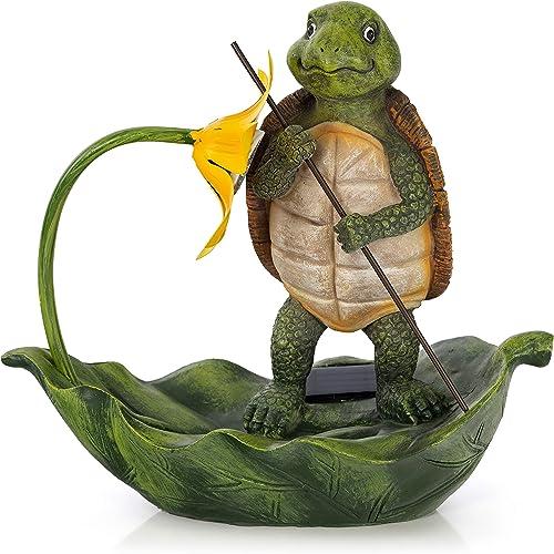 VP Home Turtle Lotus Leaf Raft Solar Powered LED Outdoor Decor Garden Light