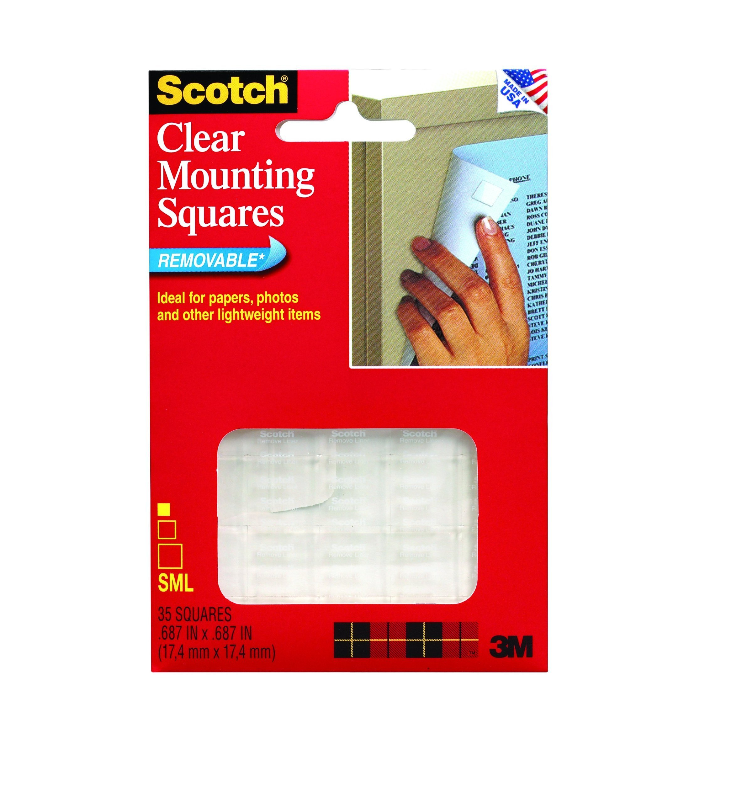 3M Scotch 859 Mounting Squares, Precut, Removable, x 11/16-Inch, Clear, 35 per Pack (MMM859), 11/16 x 11/16 Inch