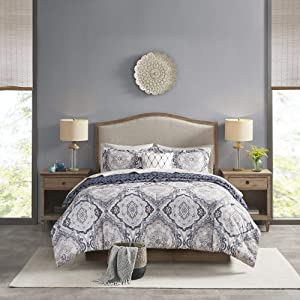 """Madison Park Essentials Titus Cozy Bed in A Bag Reversible Comforter with Complete Sheet Set, Casual Medallion Damask Print, All Season Cover, Decorative Pillow, Cal King(104""""x92""""), Navy"""