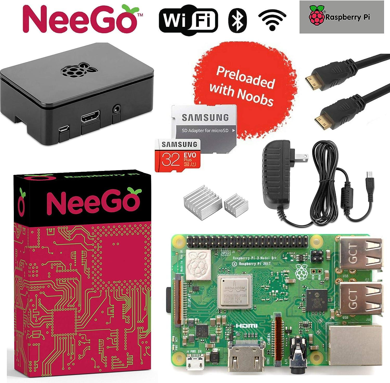 Raspberry Pi 3 B+ Plus Starter Kit, Black, 32GB Edition - Raspberry Pi Barebones Computer Motherboard 64Bit Quad-Core 1.4GHz CPU 1GB RAM, Black PI3 Case, 2.5A Power Supply, 6ft HDMI Cable