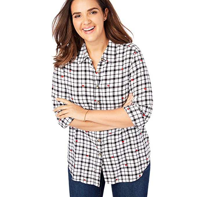 69b19652131 Woman Within Plus Size Classic Flannel Shirt - Black White Heart Plaid  (Yarn-Dye