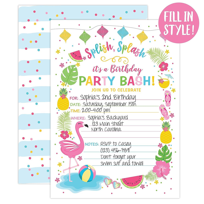 Amazon Your Main Event Prints Flamingo Birthday Invitation Summer Pool Party Invite Flamingle Splash Pad Waterslide