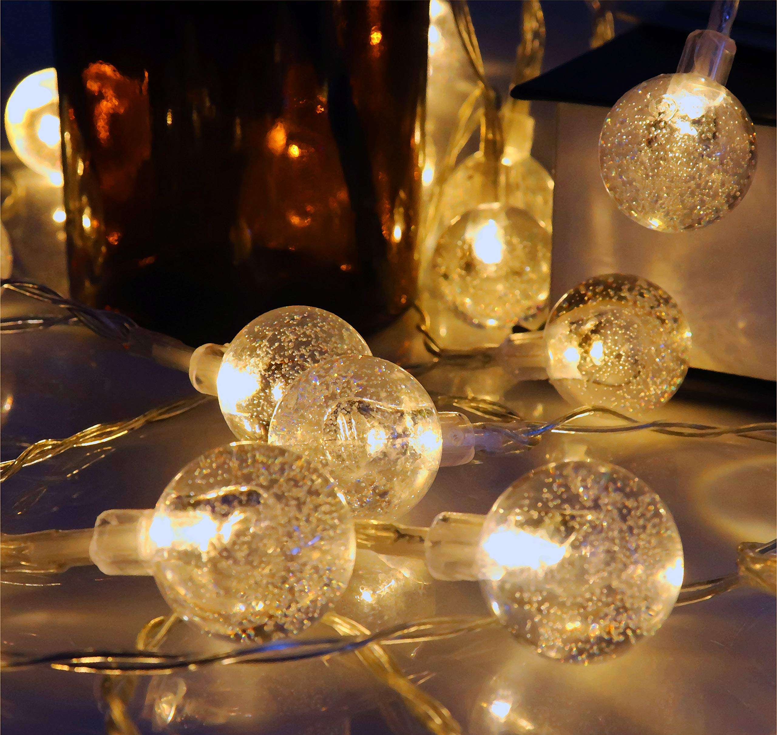 Bubble String Lights - 23ft 40 LED Crystal Ball Fairy Lights for Christmas Trees, Home, Patio, Lawn, Garden, Party and Holiday, Indoor Outdoor Decorations Warm White