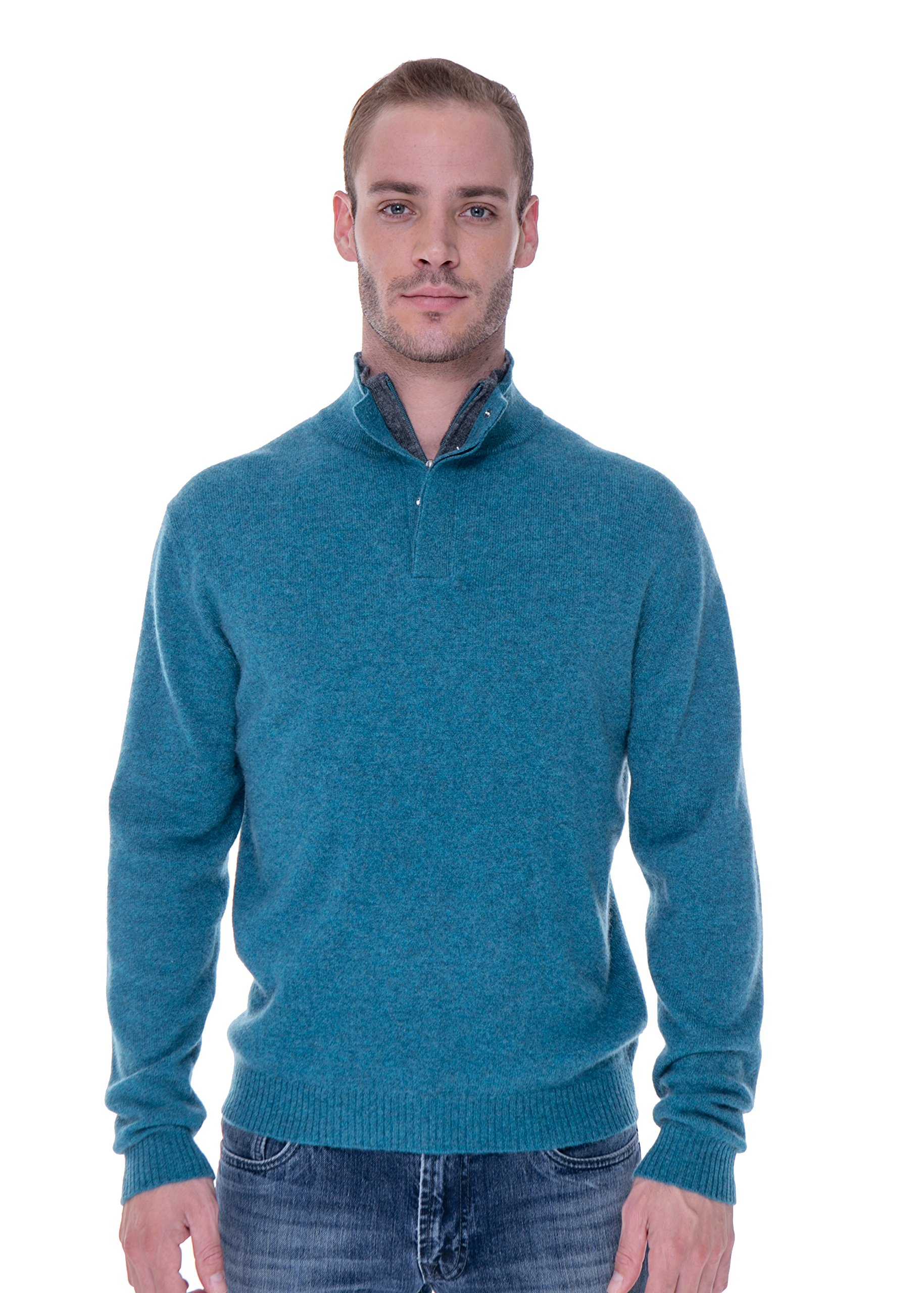 LEBAC Men's 100% Cashmere Quarter Zipped Pullover With Elbow Patches (X-Large, Turquoise/Grey)