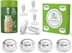 Year of Plenty Fermentation Set   Includes 4 NonSlip Grip Glass Fermentation Weights and 4 White Fermenting Lids   For Wide Mouth Mason Jar Ferments such as Sauerkraut, Kimchi and Pickles