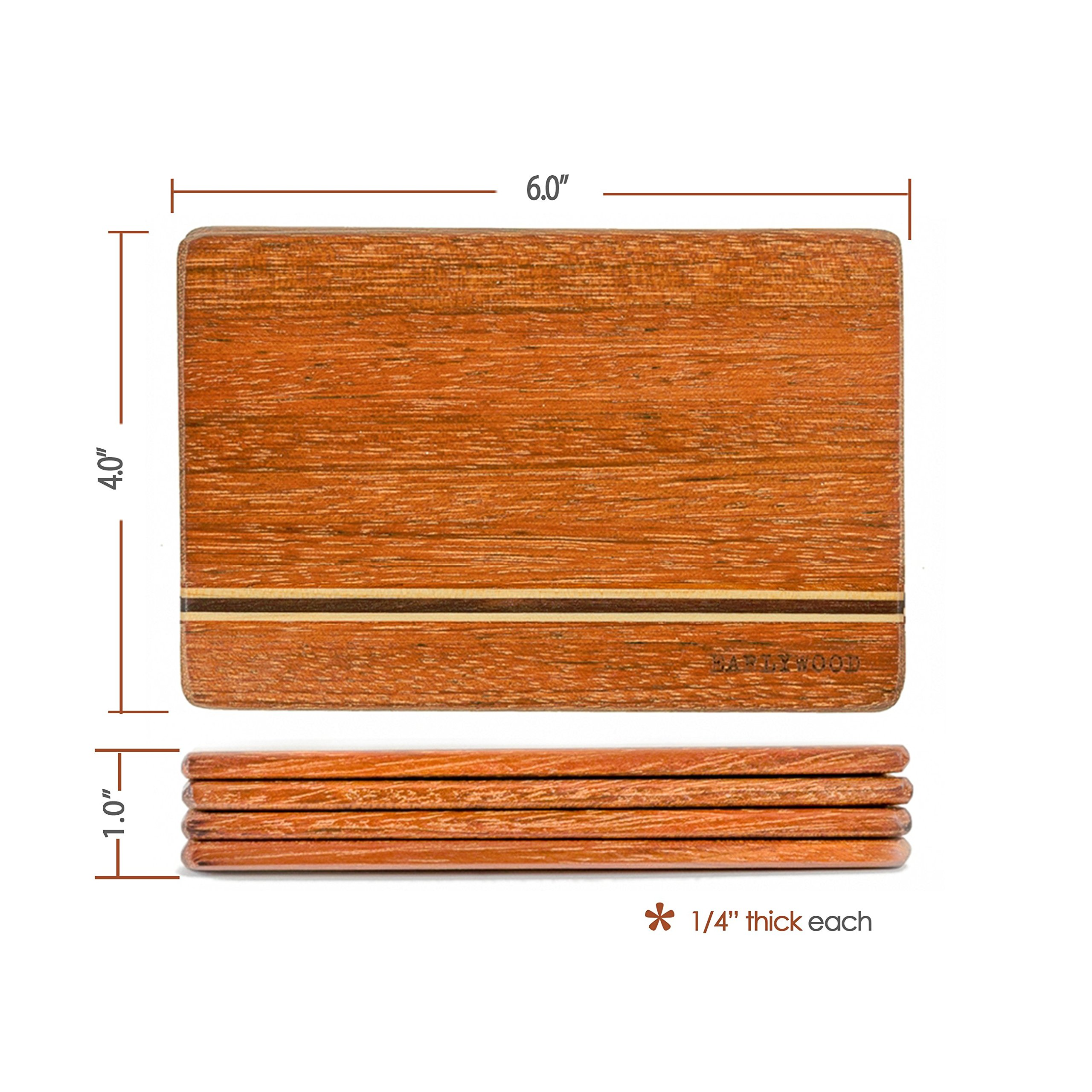 Small Wood Cutting Board Set. Set of 4 mini wooden cutting boards. Light and thin wood serving boards for wood cheese boards, spoon rests, trivets, wood serving set or bar cutting board set. The best! by Earlywood (Image #4)