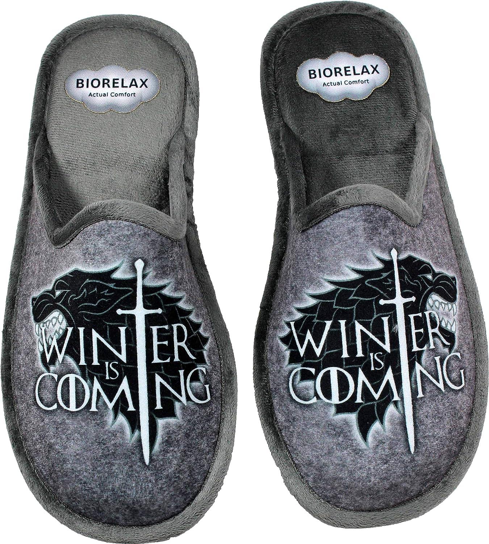 BIORELAX 1538 - Zapatillas de Estar por Casa Hombre Juego de Tronos Color Gris - (45 EU, Gris): Amazon.es: Zapatos y complementos