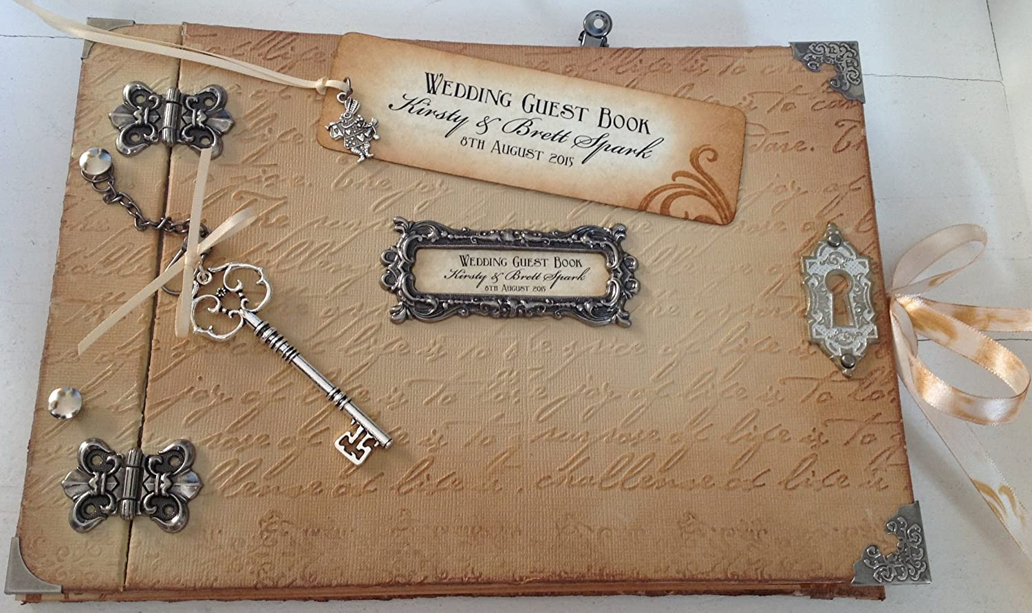 Personalised Alice In Wonderland Shabby Chic Style Vintage Handmade Wedding Guest Book Memory Journal Silver Hinged Natural Tones