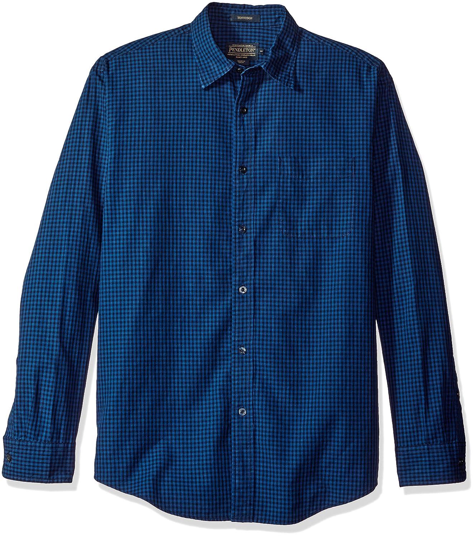 YUNY Mens Original Fit Long Sleeves Point Collar Western Shirt Black L