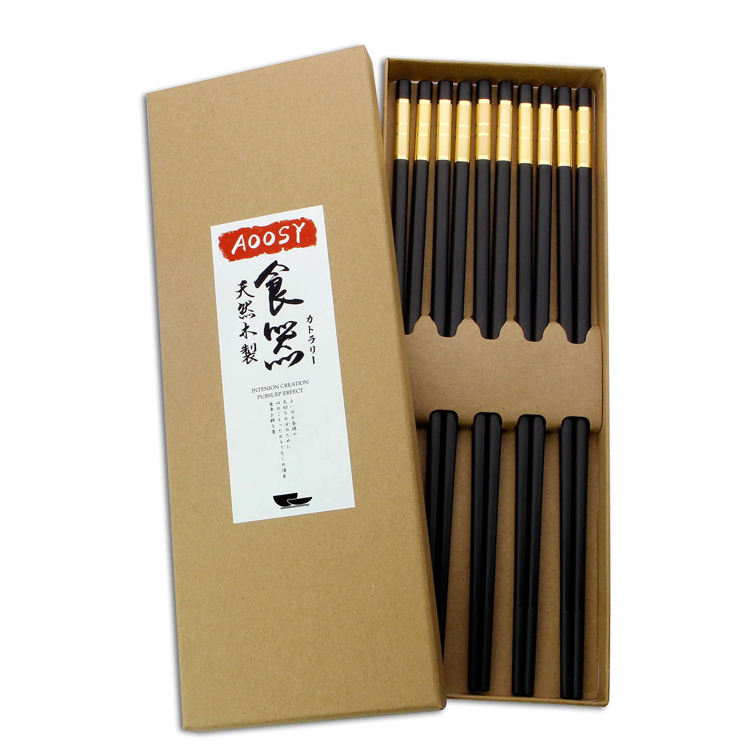 Chopsticks Sets, AOOSY 5 Pairs 10.83 inches Alloy Stainless Steel Asia Style Dishwasher safe Chopsticks for Cooking Sushi Noodles Rice Home Hotel Upscale Restaurant