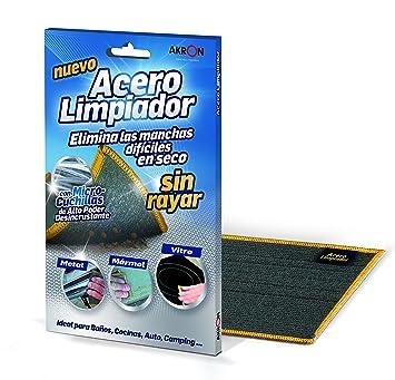 BARLESA Acero Limpiador INOX Elimina Las Manchas difíciles en seco sin rayar, Metal, marmol, vitro, …, Ideal para baños, cocinas, Auto, Moto, Camping.