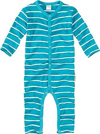 WELLYOU, Pijamas, Pijamas para niños y niñas, una Pieza de Manga Larga, niños pequeños, Color Azul Turquesa con Rayas Blancas 100% algodón. Tallas 56-134