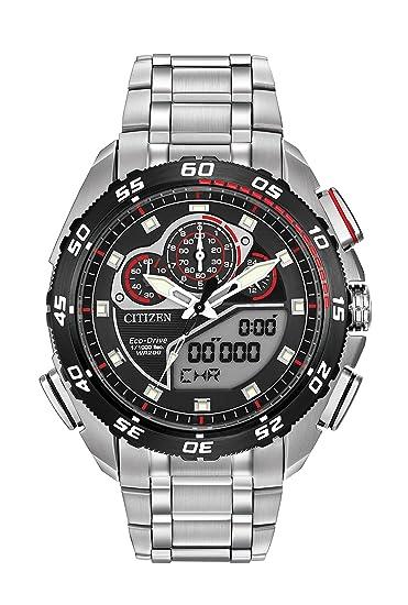 Citizen Watch Promaster Super Sport Reloj de Hombre de Cuarzo con Esfera Negra Analógico - Pantalla Digital y Plata Pulsera de Acero Inoxidable jw0111 ...
