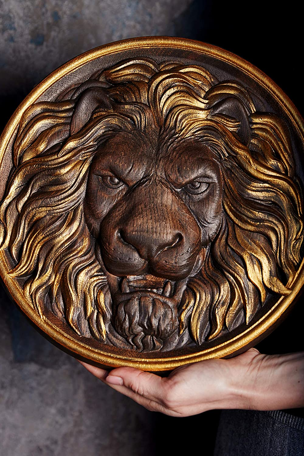 Lion Head Leo Carved Wood furniture appliques Furniture Onlay Wood rosette wood carvings Wall Hanging art