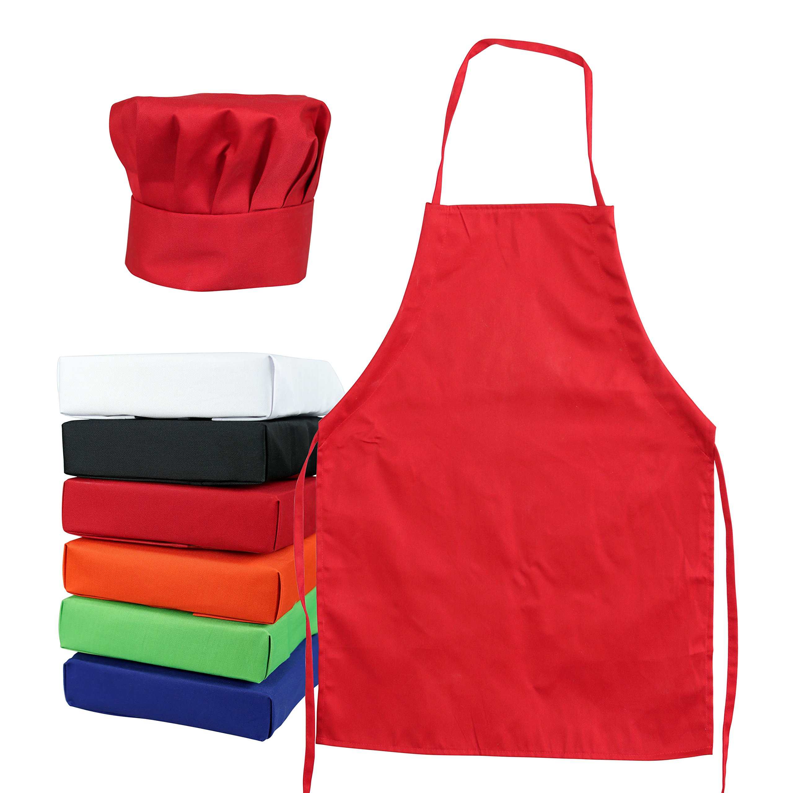 Odelia Kids Chef Hat Apron - Kitchen Cooking Baking Wear (S 2-5 Year, Red)