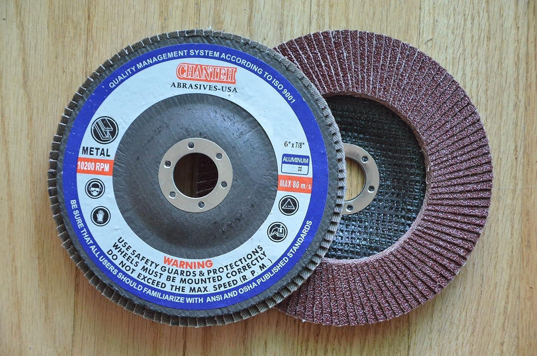 Premium FLAP DISCS 6' x 7/8' Aluminum Oxide 40 grit Grinding Wheel for angle grinder - 10pcs Pack H&M ABRASIVES-USA