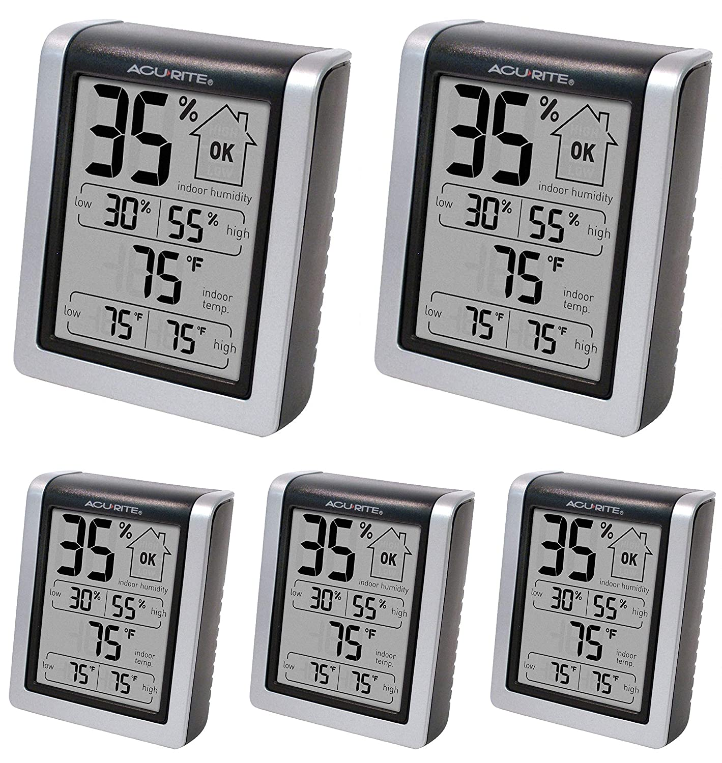 """Indoor Thermometer Hygrometer Pre-Calibrated Humidity Gauge 3/"""" H x 2.5/"""" W"""