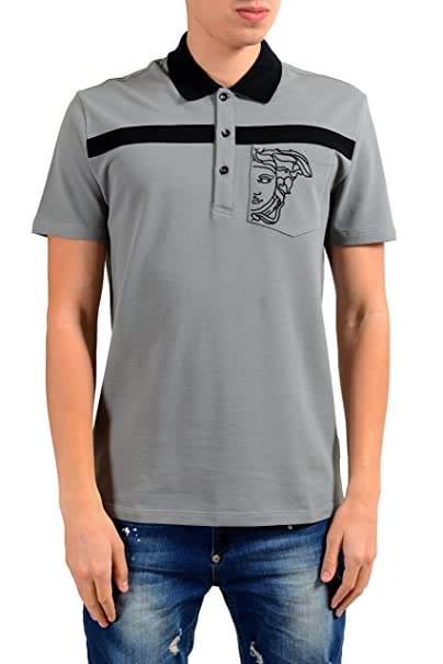 12ac36b0c86 Image Unavailable. Image not available for. Color  Versace Collection Men s  Gray Short Sleeve Polo ...