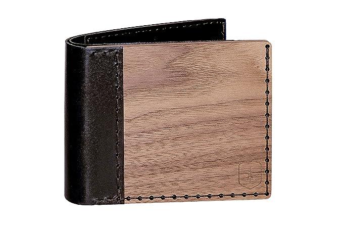 Cartera de cuero y madera Nox Virilia – cartera para hombre – cartera marrón – cartera