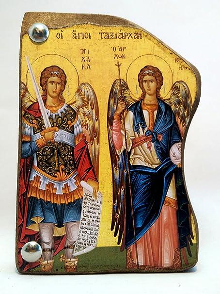 Fatto a Mano Greca Cristiano ortodossa MP4/_1 Icona di Arcangelo Michele e Arcangelo Gabriel in Legno