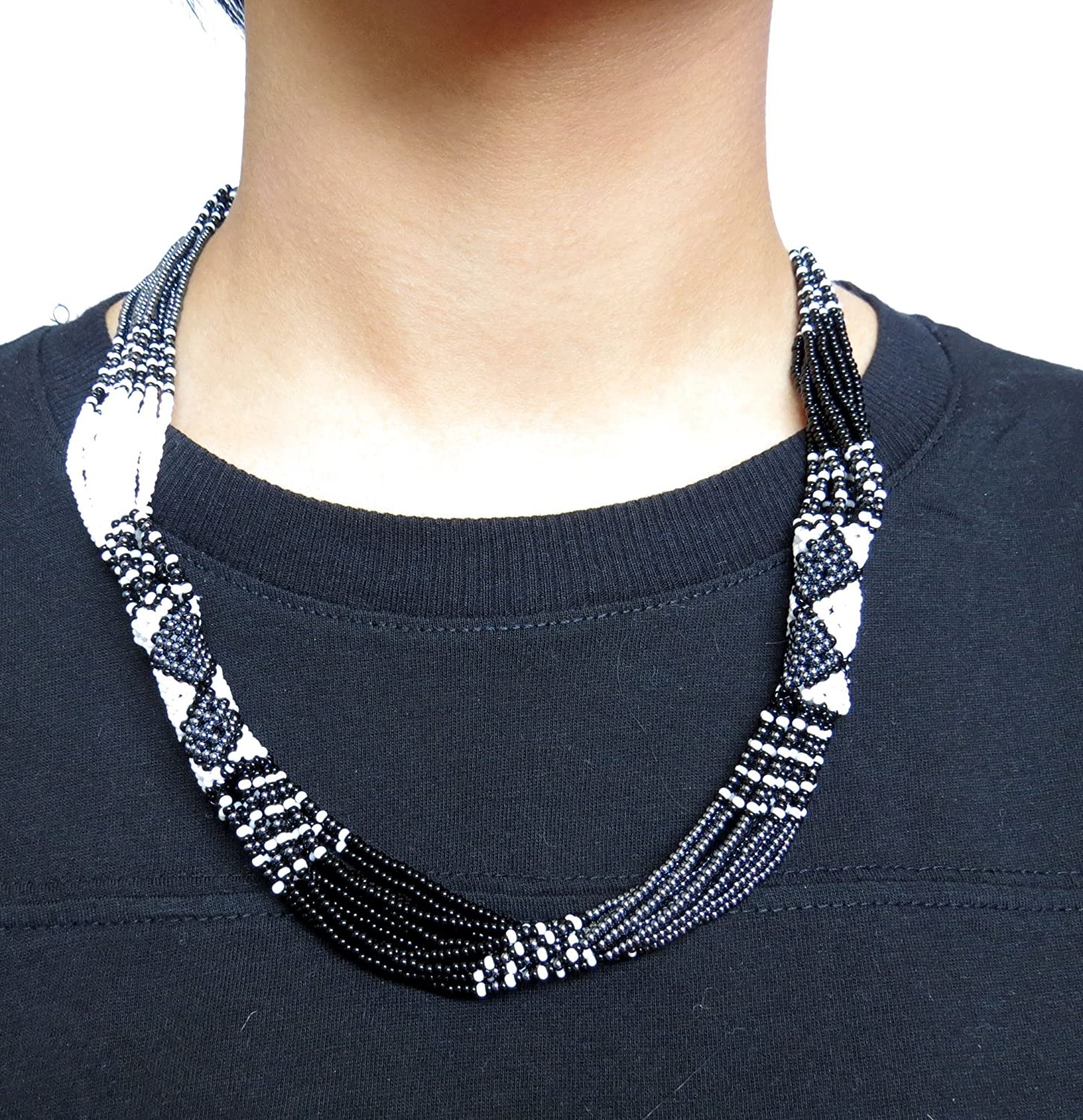 African Zulu beaded short necklace Black//White//Gunmetal