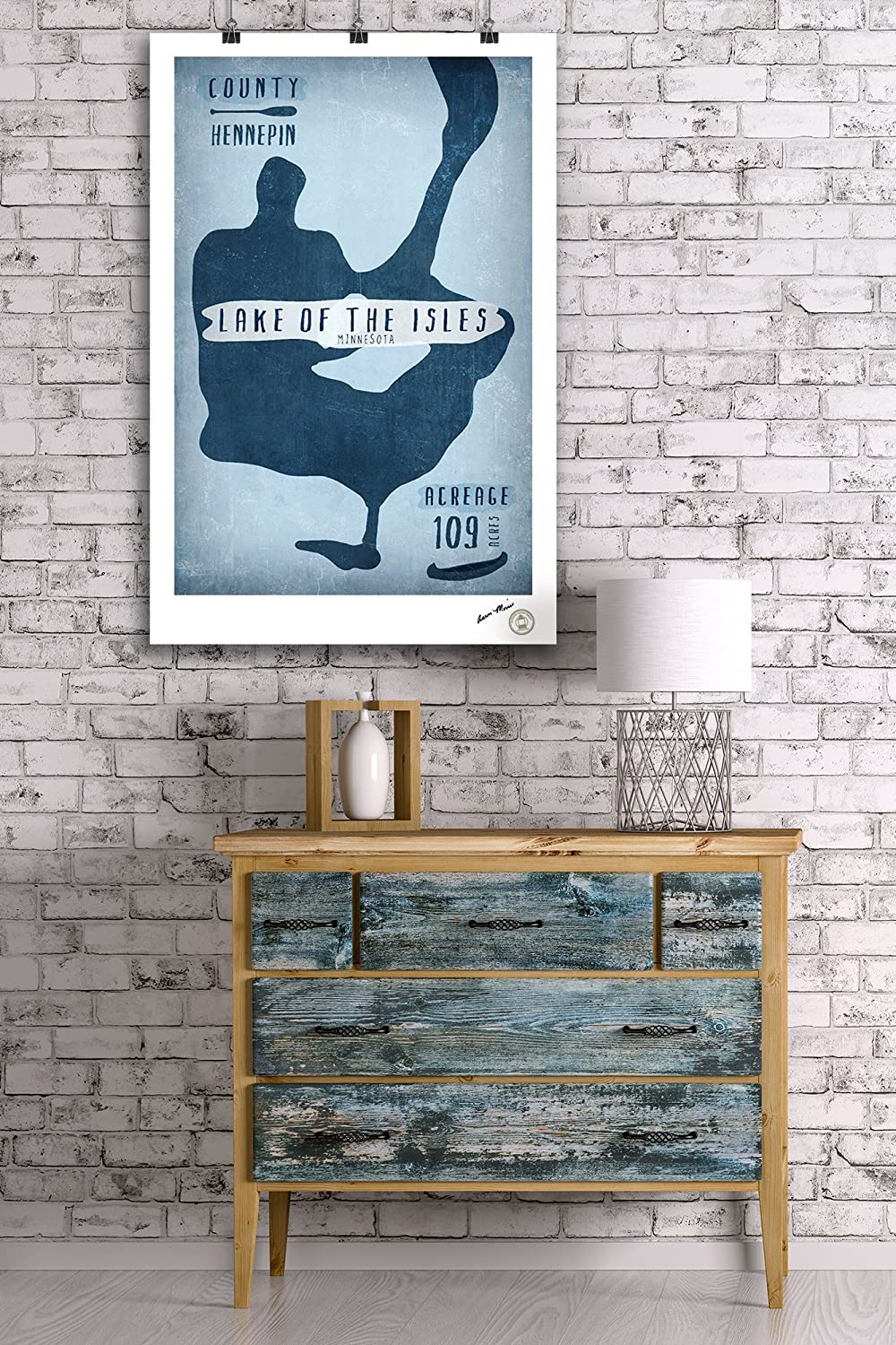 Minnesota Shape 24x36 Giclee Gallery Print, Wall Decor Travel Poster Acreage and County Lake Essentials Lake of the Isles