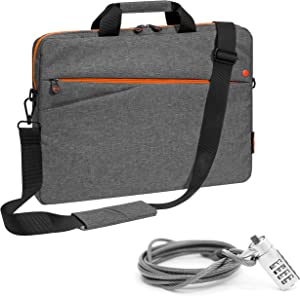 PEDEA Fashion Laptop Bag up to 17.3 Inches (43.9 cm) Shoulder Bag with Shoulder Strap and Notebook Lock Grey/Orange