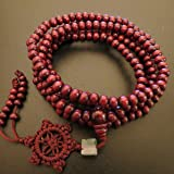 6mm*216 Buddha Red Ebony Wood Wheel Prayer Beads Buddhist Sutra Bracelet Necklace Elastic Cord