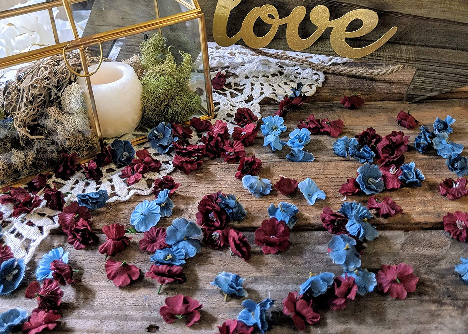 Wedding Table Decorations for Reception, Table Scatter Decorations, Dusty Blue and Burgundy Flower Confetti, Floral Bridal Shower Decor