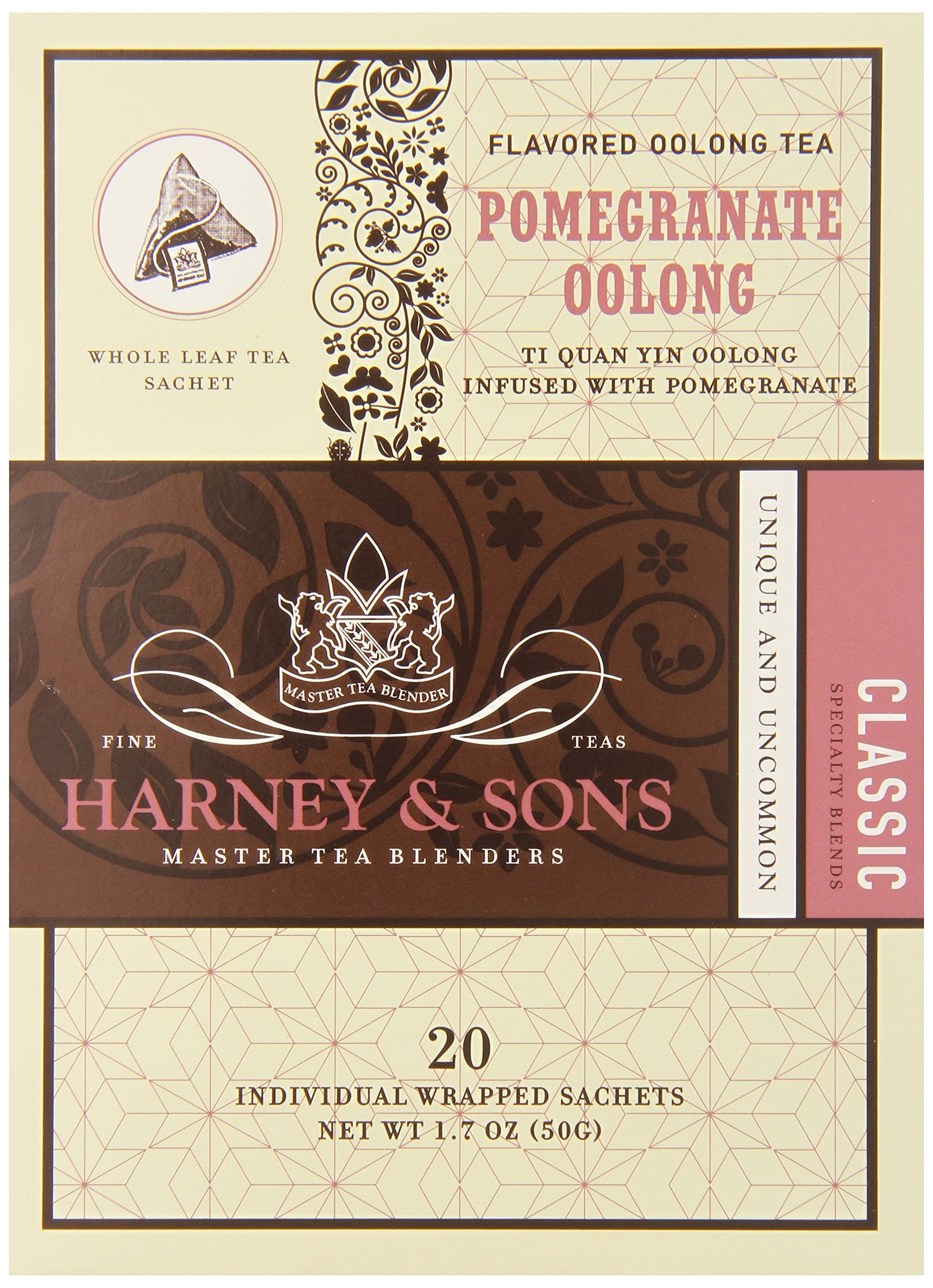 Harney & Sons Oolong Tea, Pomegranate, 1.7 oz, 20 Sachets (Pack of 6)