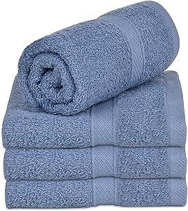 "Talvania Hand Towels - 100% Cotton Bathroom Towel Set Hotel Spa Quality 600GSM - Super Soft Absorbent - Use for Home Bath Hand Face - 16"" X 28"" - Set of 4 (Blue)"