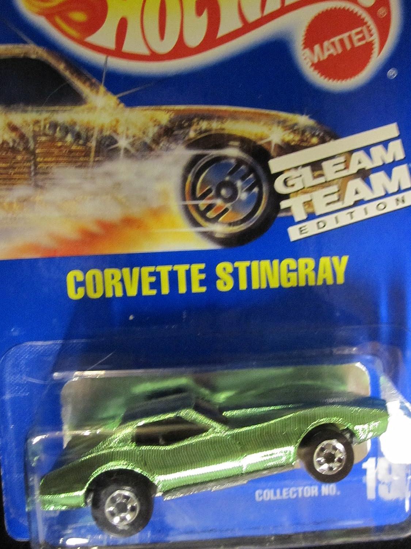 Corvette Stingray Hot Wheels 1992 Gleam Team #192 Chrome Green with Basic Wheels on Solid Blue Card B00IB02DYM