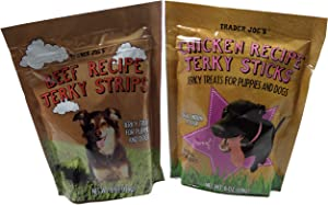 Trader Joes - Dog Treat Jerky Combo 2 Pack 12 total OZ's -Beef Jerky + Chicken Jerky - Made in USA Tastey Treats - Dogs Love Them.