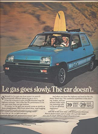 Print Ad For 1981 Blue Renault Le Car :Couple Surfing Scene